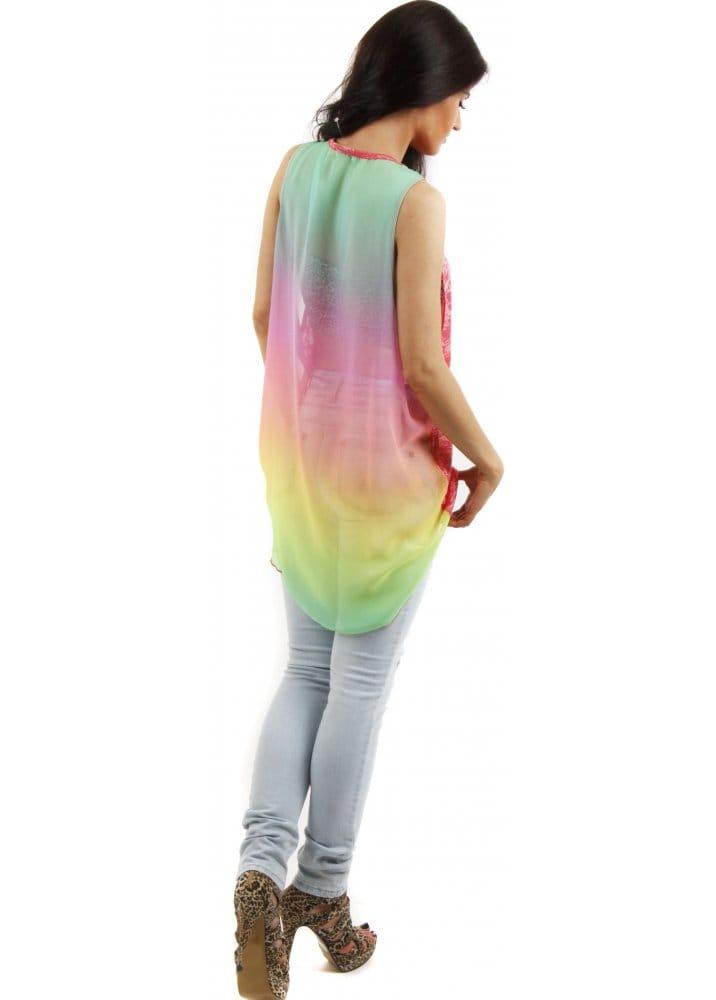 Rainbow Vest Pink Chiffon Vest Pink Tops Amp Vests