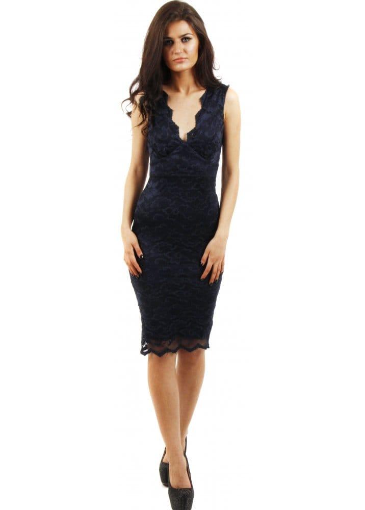 Jessica Wright Molly Dress Navy Blue Lace Pencil Dress