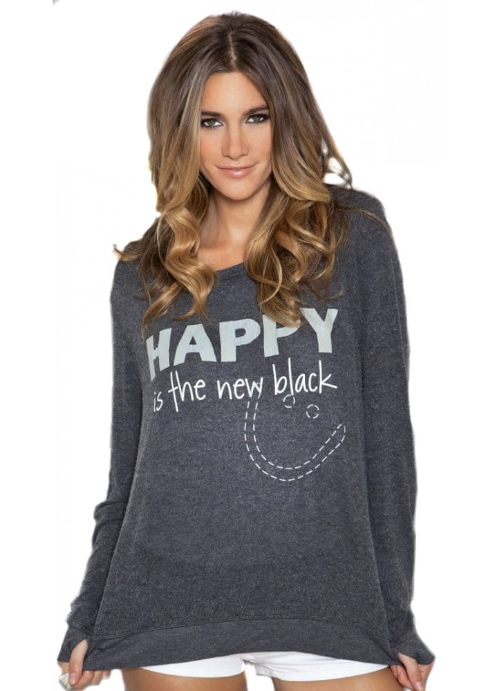 Happy Is The New Black Comfy Washed Black Top