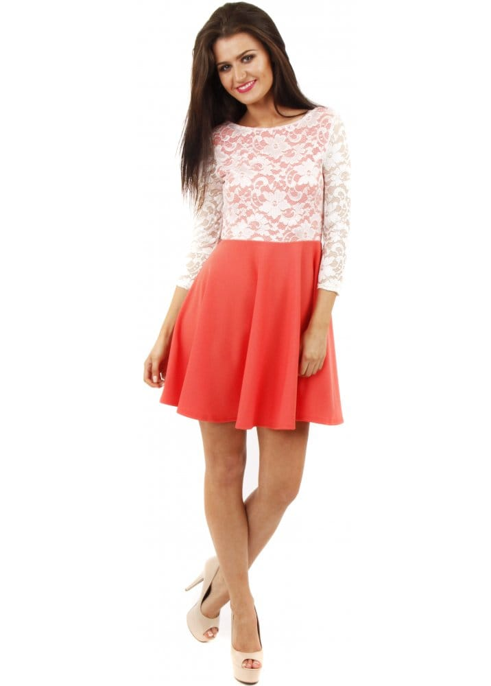 Stella Morgan | Coral Skater Dress | Lace Mini Dress
