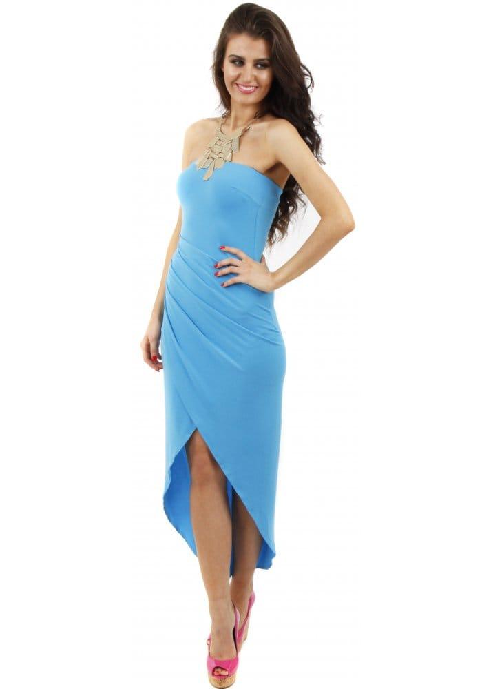 Goddess London Turquoise Bandeau Dress Draped Midi Dress