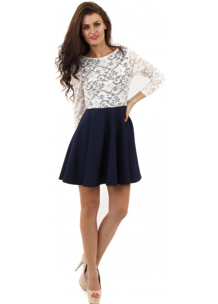 Stella Morgan Navy Skater Dress Lace Mini Dress