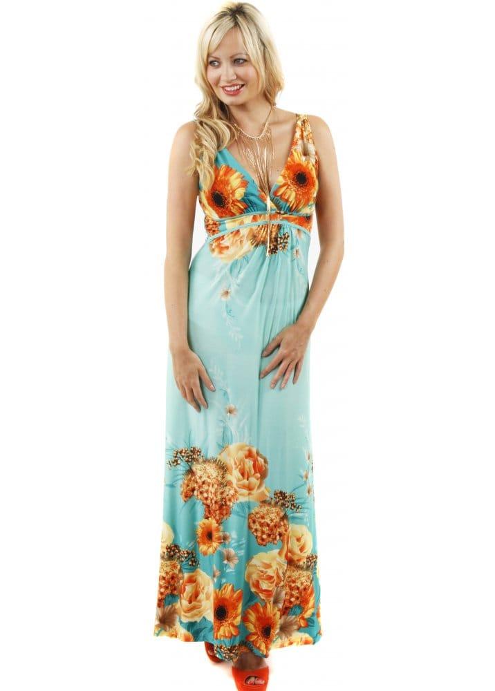 Stella Morgan Green Sun Flower Maxi Dress Stella