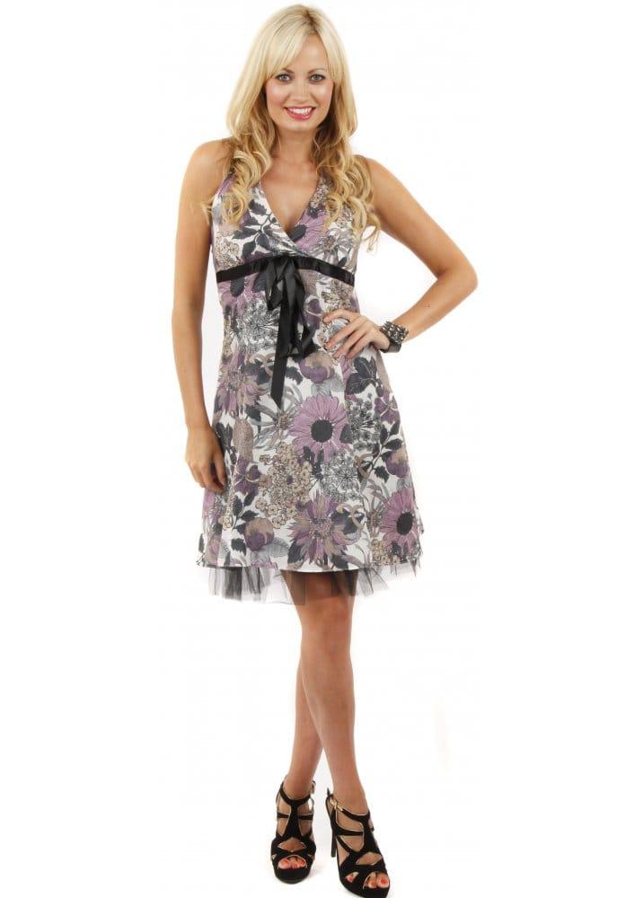 Stella Morgan Dress Halter Neck Party Dress Grey Print