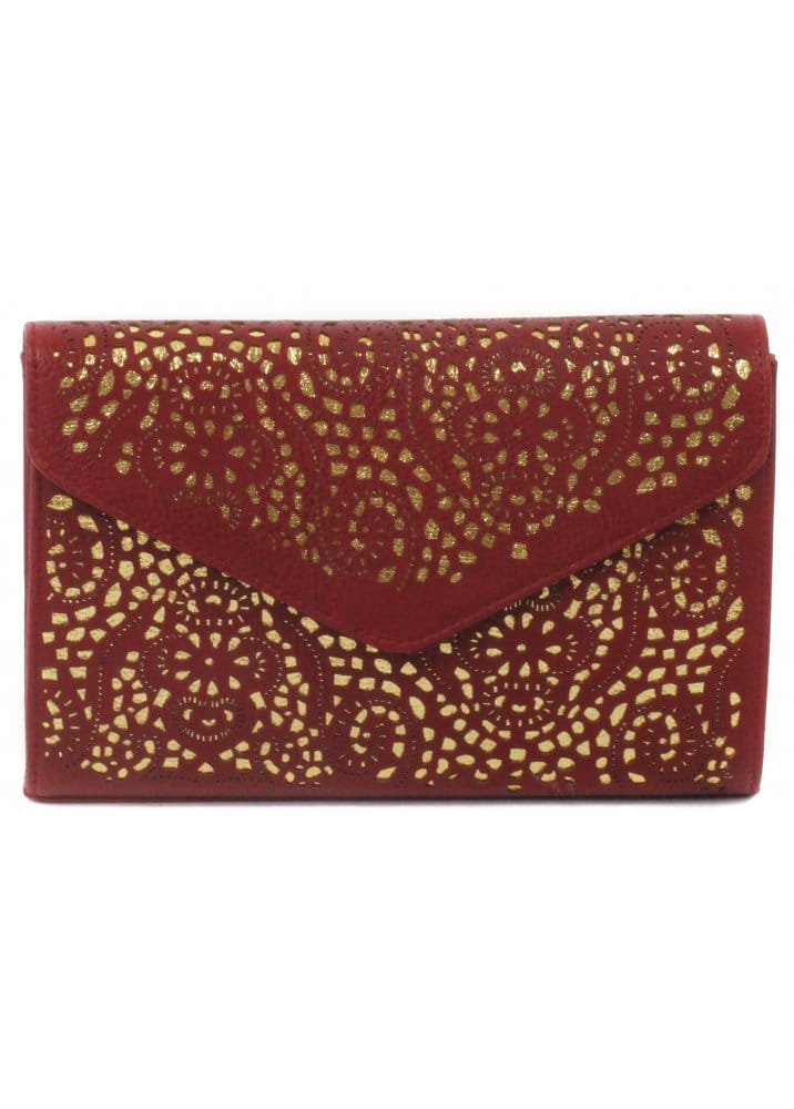 Cheeky Budha Red Envelope Clutch Bag Wine Amp Gold