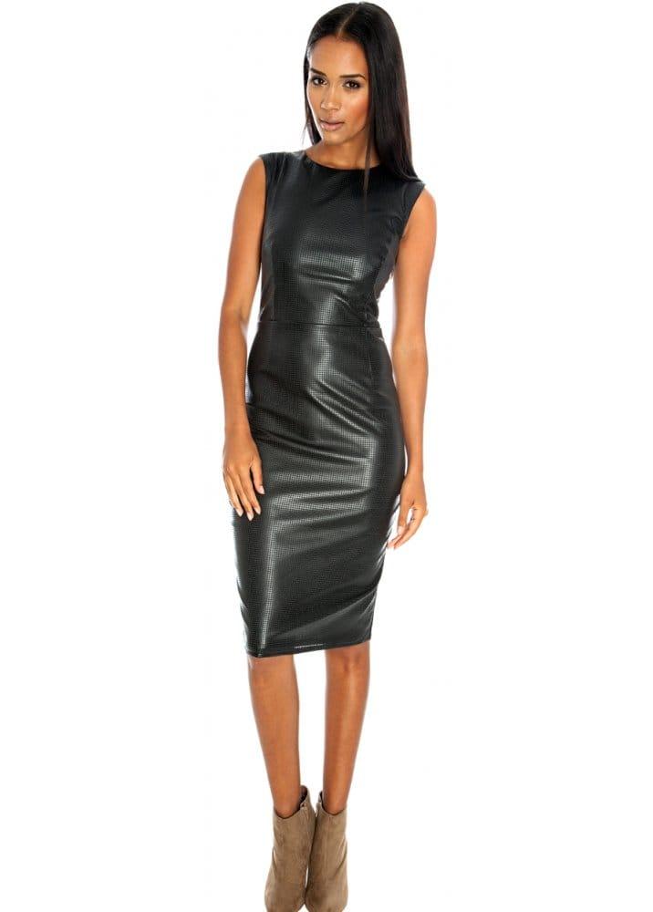 Goddess London Faux Leather Dress Black Leather Pencil