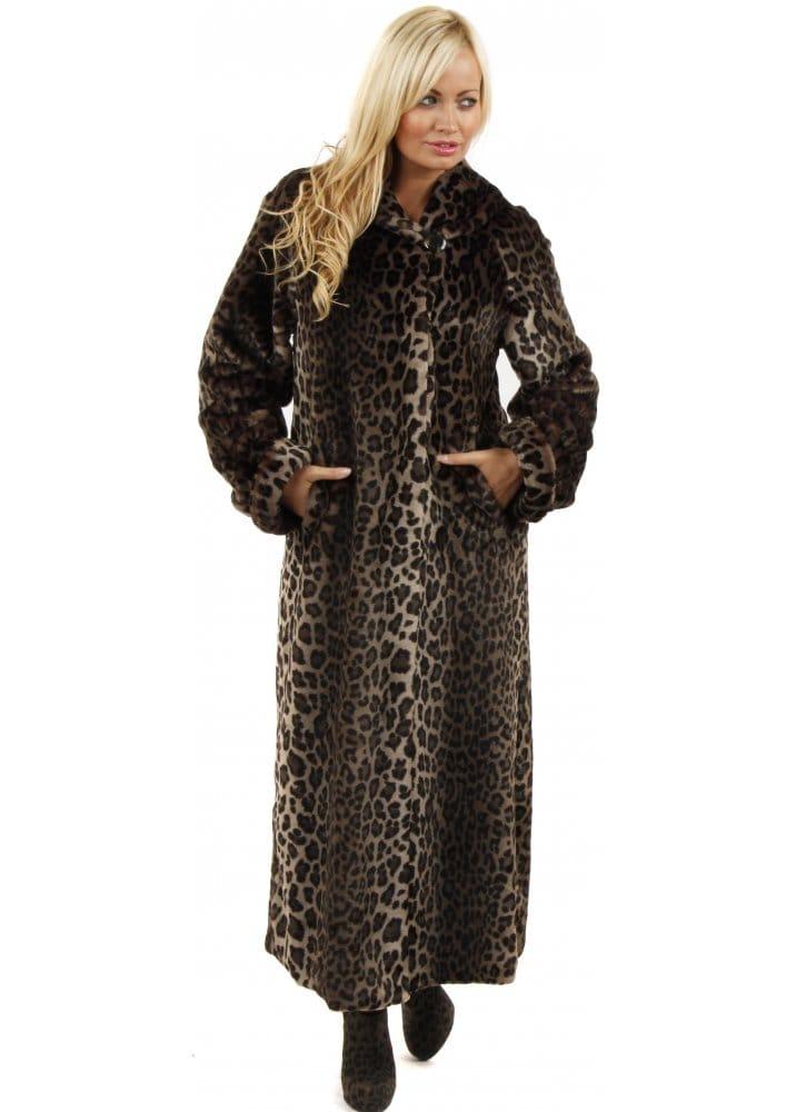 Marble Marble Full Length Fur Coat Leopard Print Faux