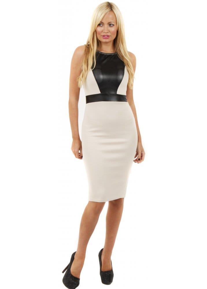 Pu Faux Leather Dress Midi Pencil Dress Beige Pencil Dress