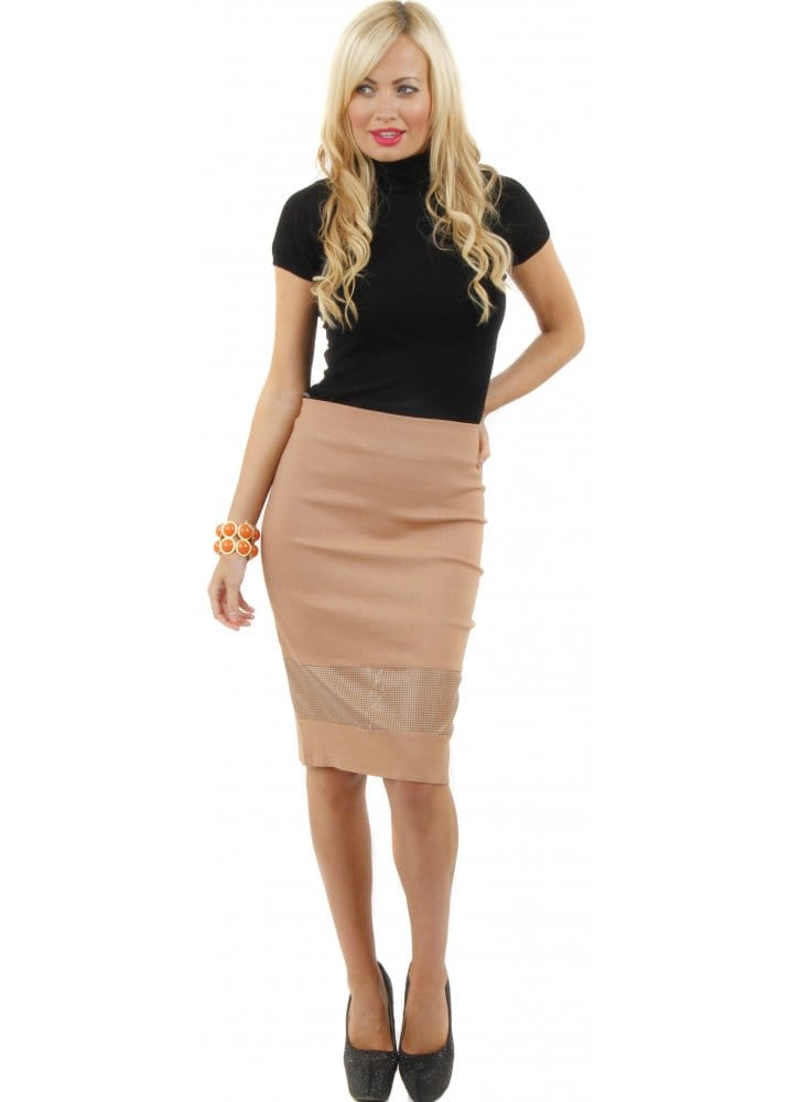 Goddess London Skirt | PU Panel Pencil Skirt | Tan Pencil Skirt