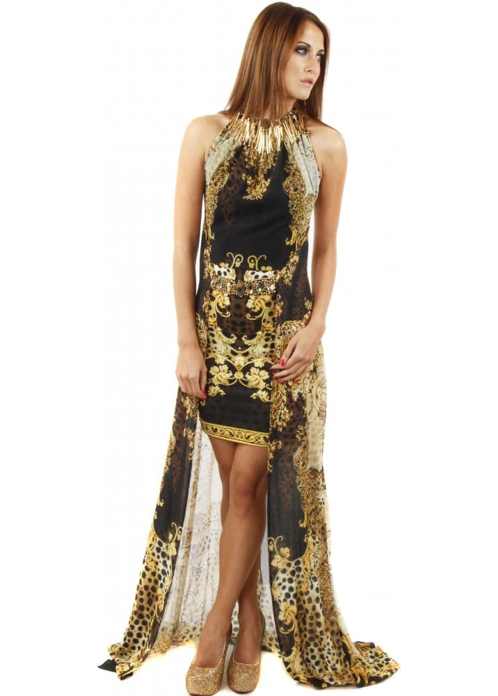 Party 21 Party 21 Silk Evening Dress Black Amp Gold Maxi
