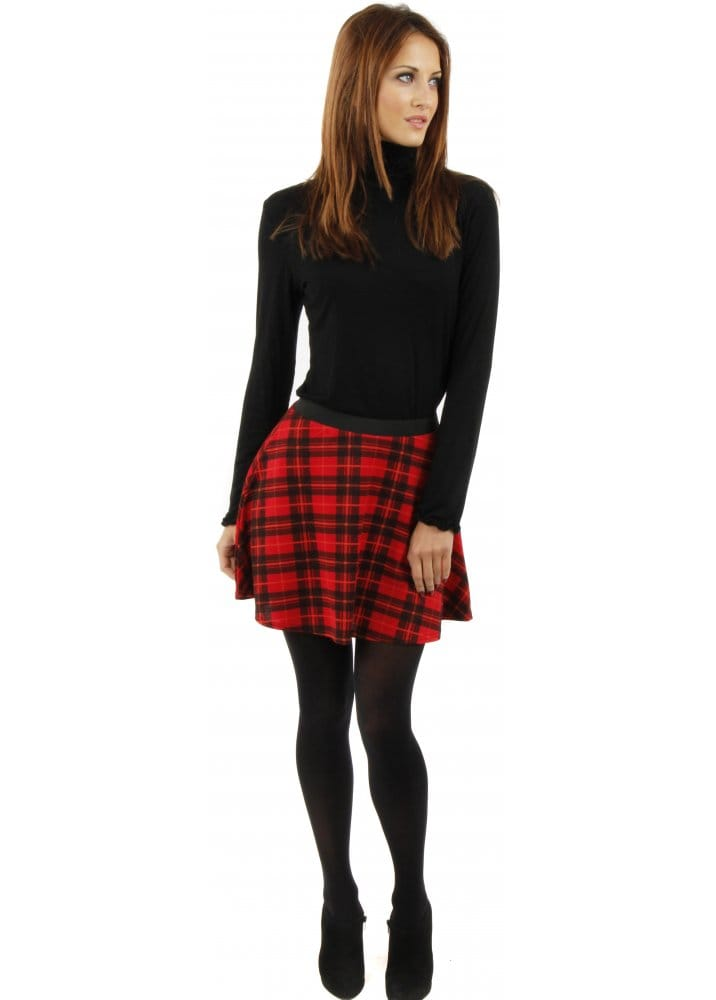 Mini Skirt | Red Tartan Skirt | Skater Swing Skirt