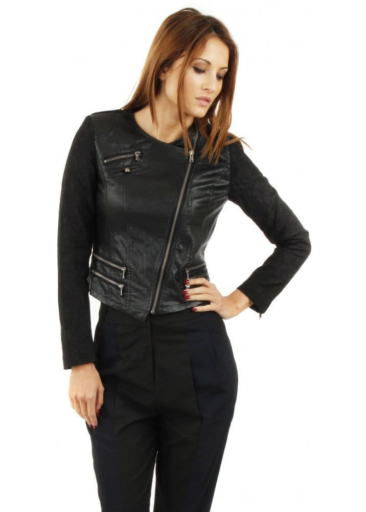 Black Leather Biker Jacket Lace Sleeve Jacket Leather