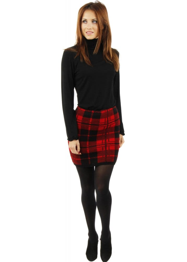 Red Tartan Mini Skirt | Chunky Knitted Skirt | Plaid Print Mini Skirt