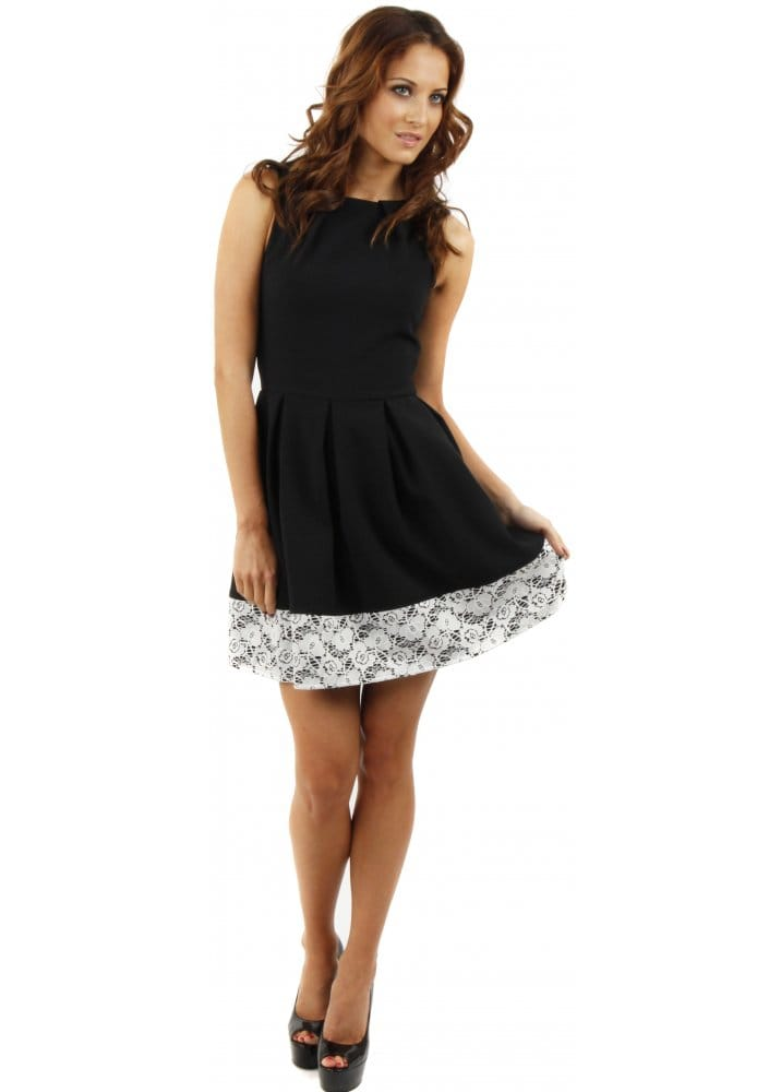 Closet Fit Amp Flare Dress Closet Black Lace Hem Dress