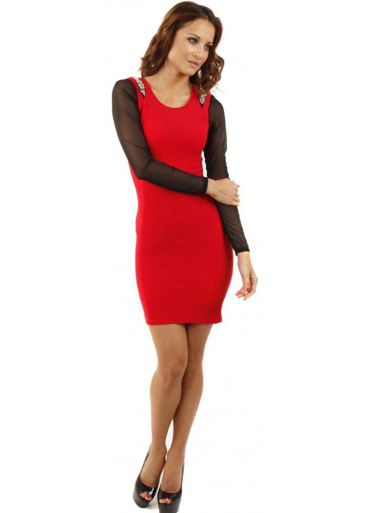 Mesh Mini Dress Red Mini Dress Red Party Dress