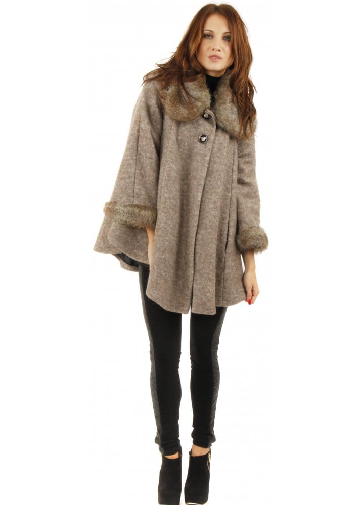 Brown Faux Fur Cape Coat | Brown Swing Cape | Brown Poncho