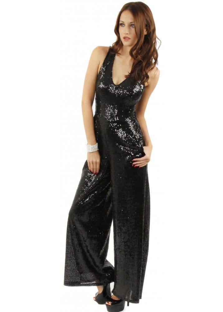Black Sequinned Jumpsuit Black Party Jumpsuit Evening