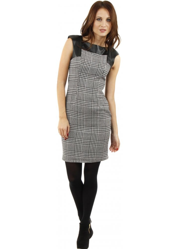 Dogtooth Check Dress Shift Mini Dress Black Amp White