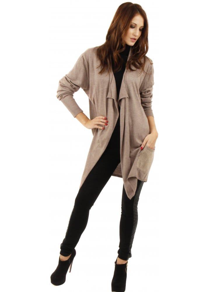 Taupe Waterfall Cardigan | Taupe Cardigan | Shop Knitwear
