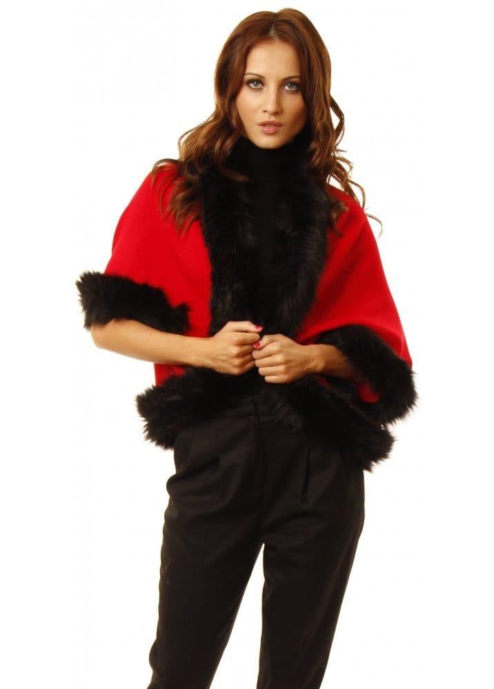 Red faux fur bolero red bolero faux fur bolero for Designer bolero