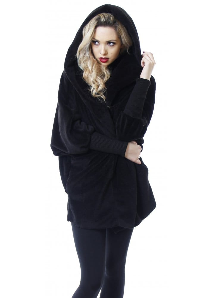 Black jacket hooded fleece bolero jacket black coat for Designer bolero