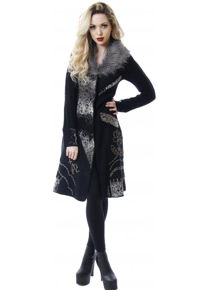 Stella Morgan Faux Fur Collar Cardigan Grey Amp Black