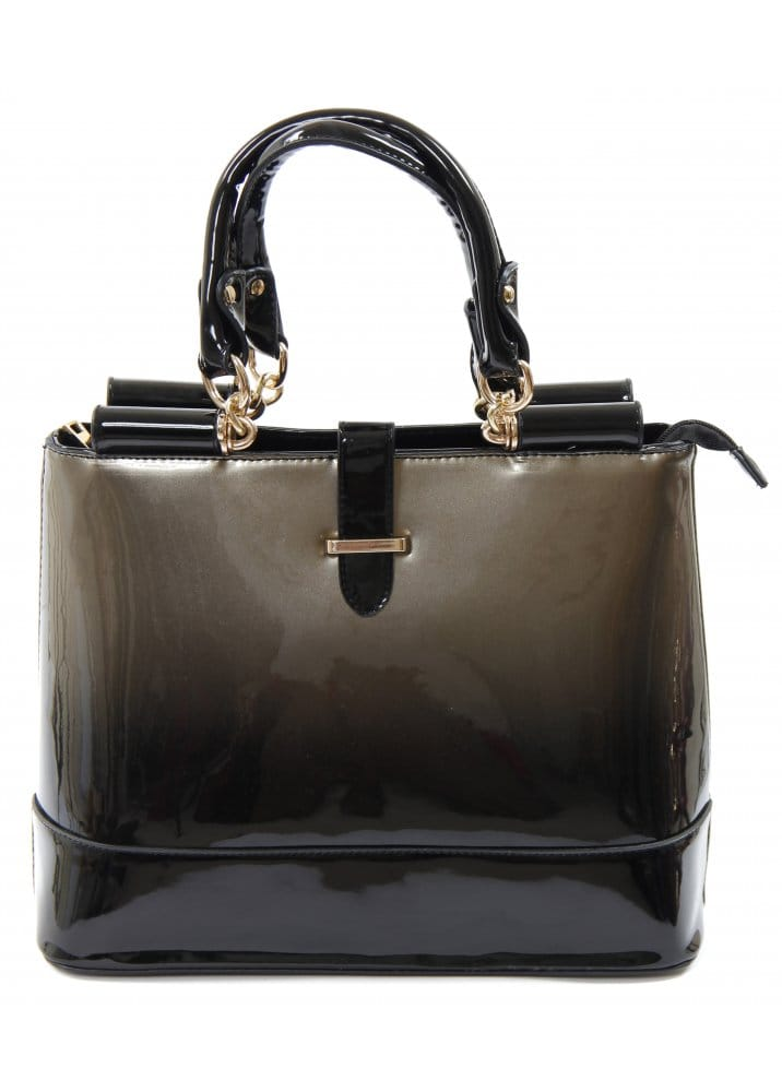 Ombre Design Bag Patent Handbag Black Ombre Handbag