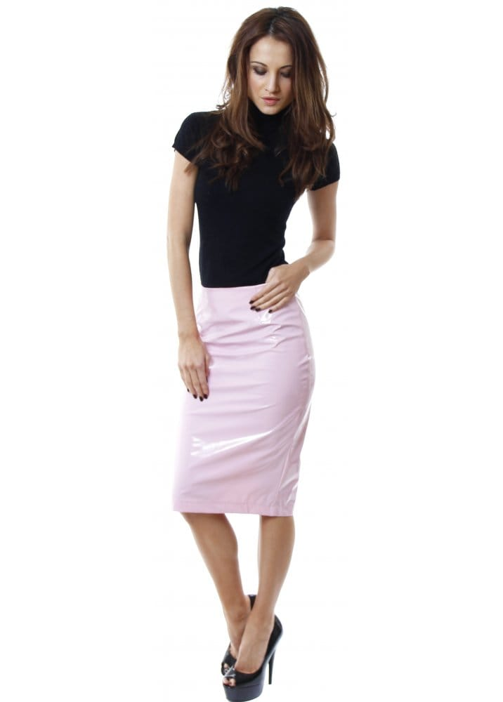 pvc skirt baby pink pvc skirt pink midi skirt