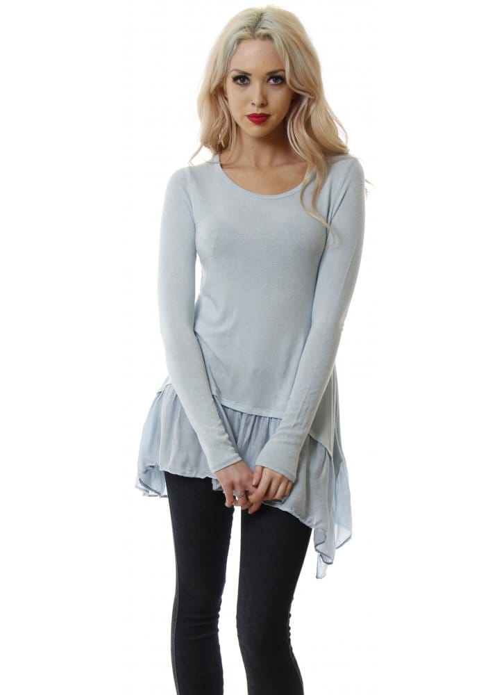 Sugar Babe Baby Blue Fine Knit Top Baby Blue Frilled