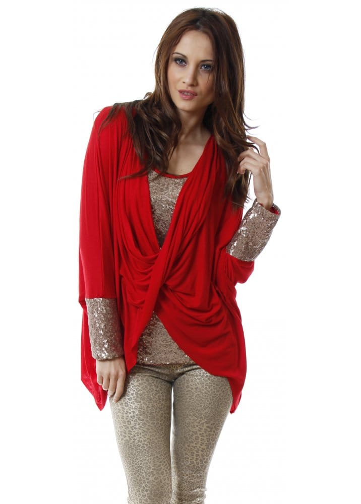 Red Sequin Twist Front Top Red Evening Top Sequinned