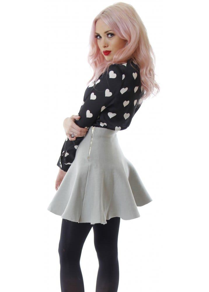 Grey Knit Fit & Flare Skirt | Grey Bodycon Skirt | Grey Mini Skirt