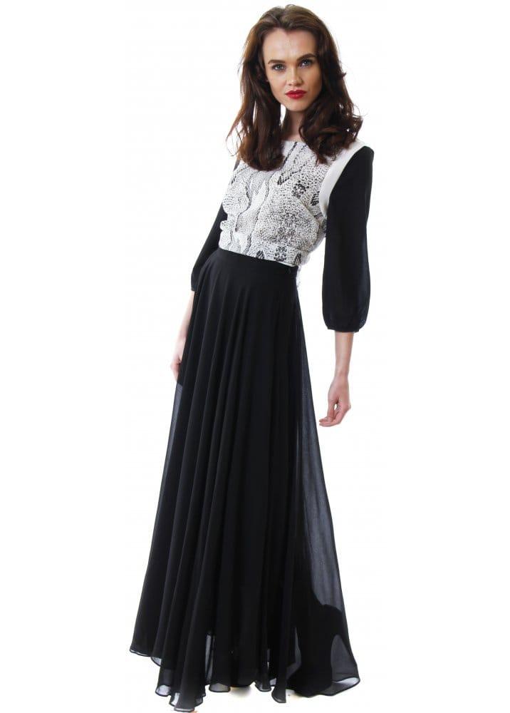 Lucy Paris Black Maxi Skirt Chiffon Full Length Skirt