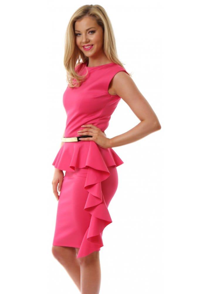 Honor Gold   Pippa Dress   Hot Pink Bodycon Pencil Dress  Pink Gold Dress