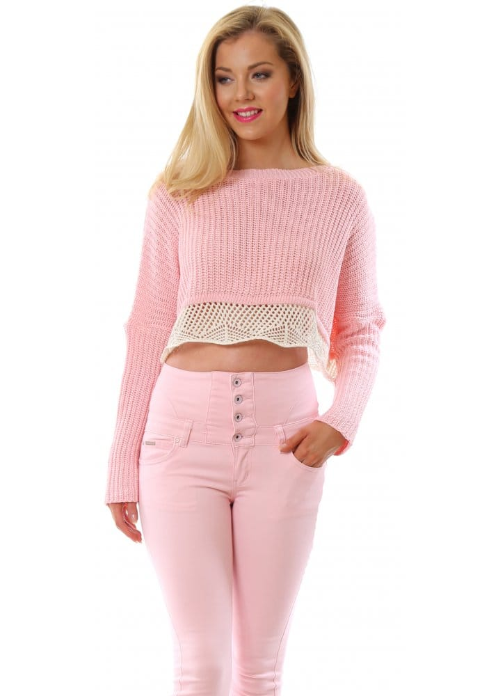 Ladies Baby Pink Long Sleeved Cropped Jumper Pretty
