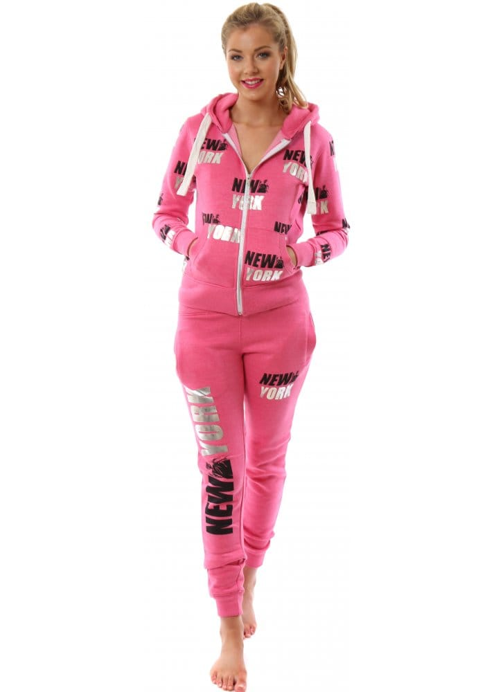 Pink Tracksuit New York Logo Tracksuit Cheap Tracksuit