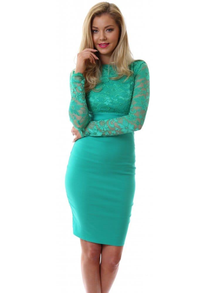 Goddess Green Lace Pencil Dress Green Pencil Dress For