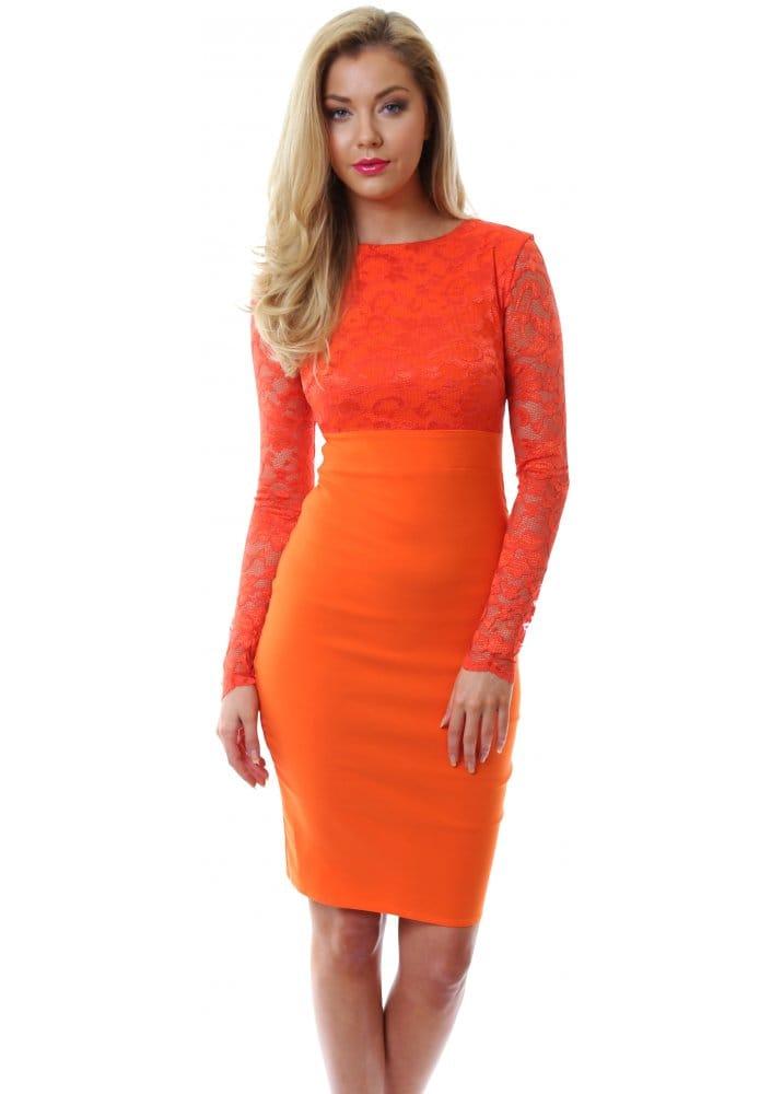 Goddess | Orange Lace Pencil Dress