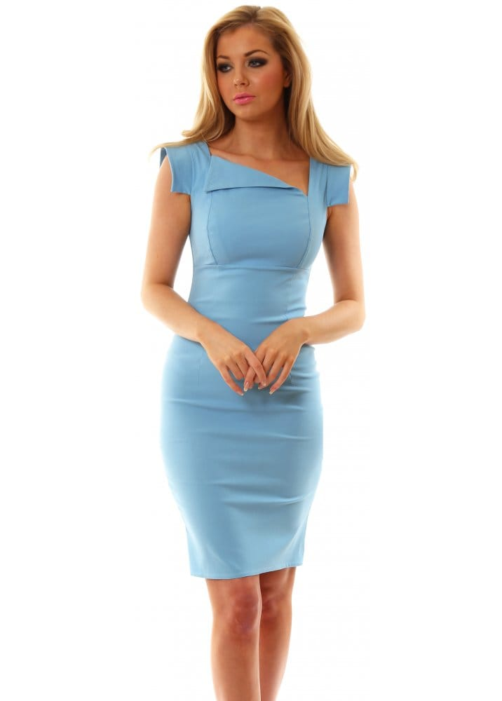 Goddess London Dress Baby Blue Pencil Dress For Day Or Night