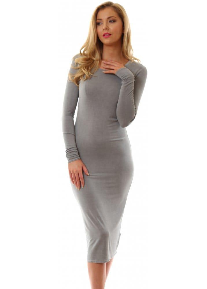 Grey Long Sleeve Midi Dress