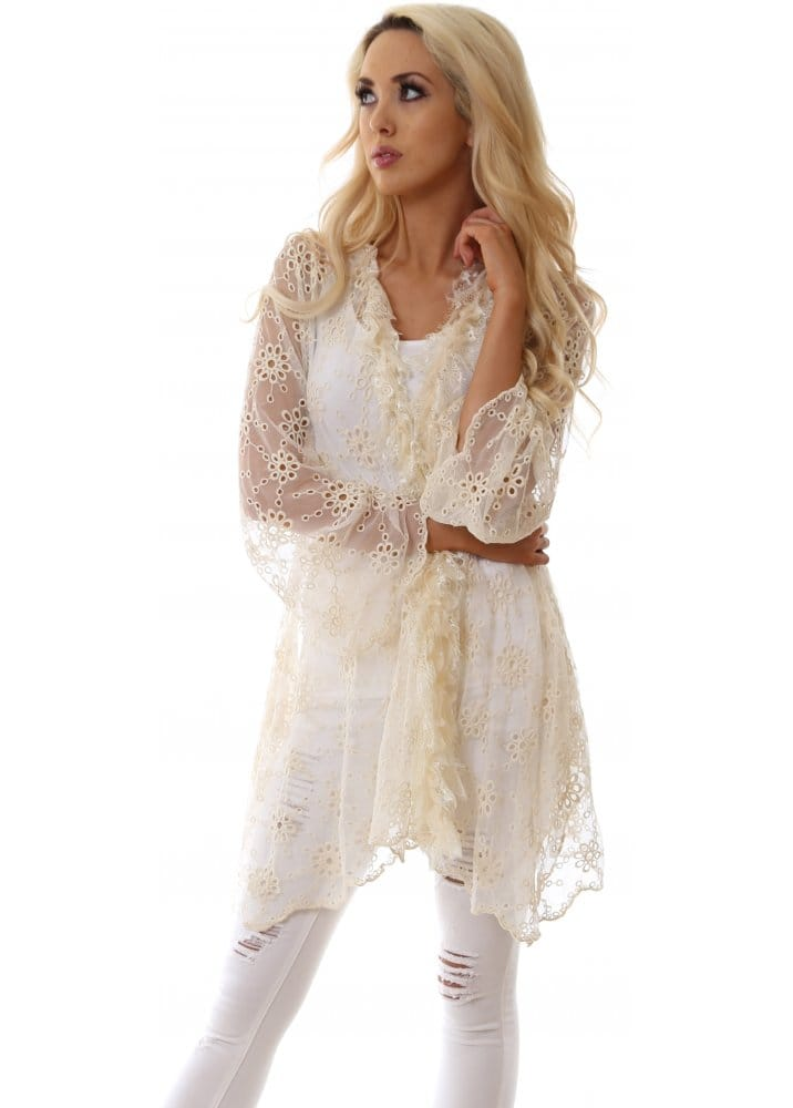 Jayley Jayley Lace Kaftan Cream Lace Jacket For Day Or