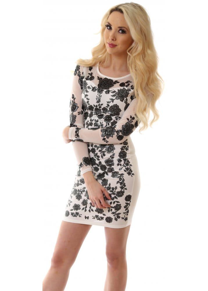 Glamour Babe Dress White Mesh Sleeved Dress With Black