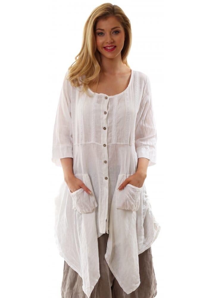 Monton Top White Linen Oversized Shirt Top For Summer