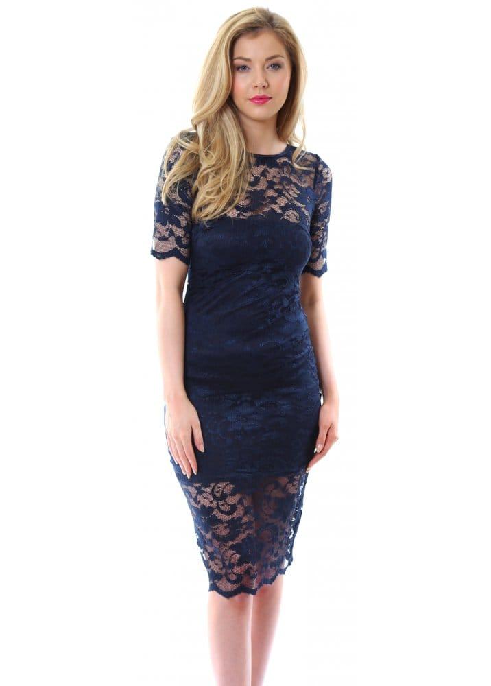 Goddess London Navy Blue Elegant Lace Pencil Dress For