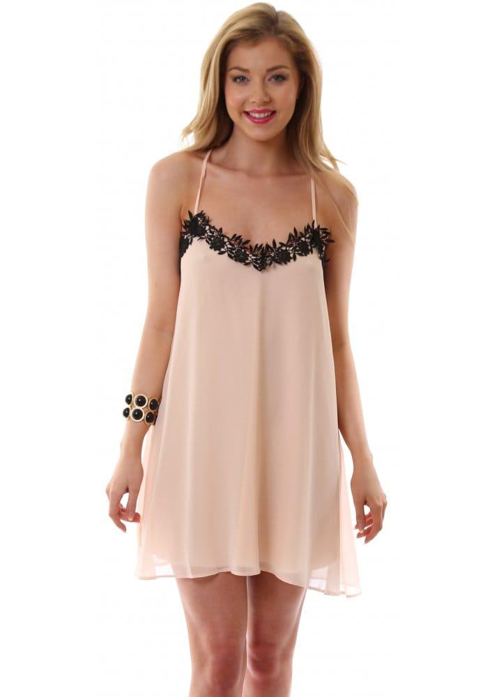 Ad Lib Dress Nude Lingerie Slip Dress With Black Lace