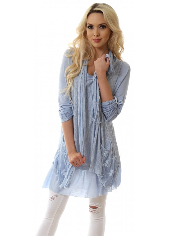 Super Belle Light Blue Layered Knitted Tunic Dress With