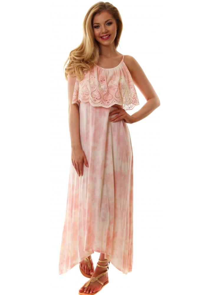 Pink Amp White Tie Dye Maxi Dress Pretty Beach Dress For