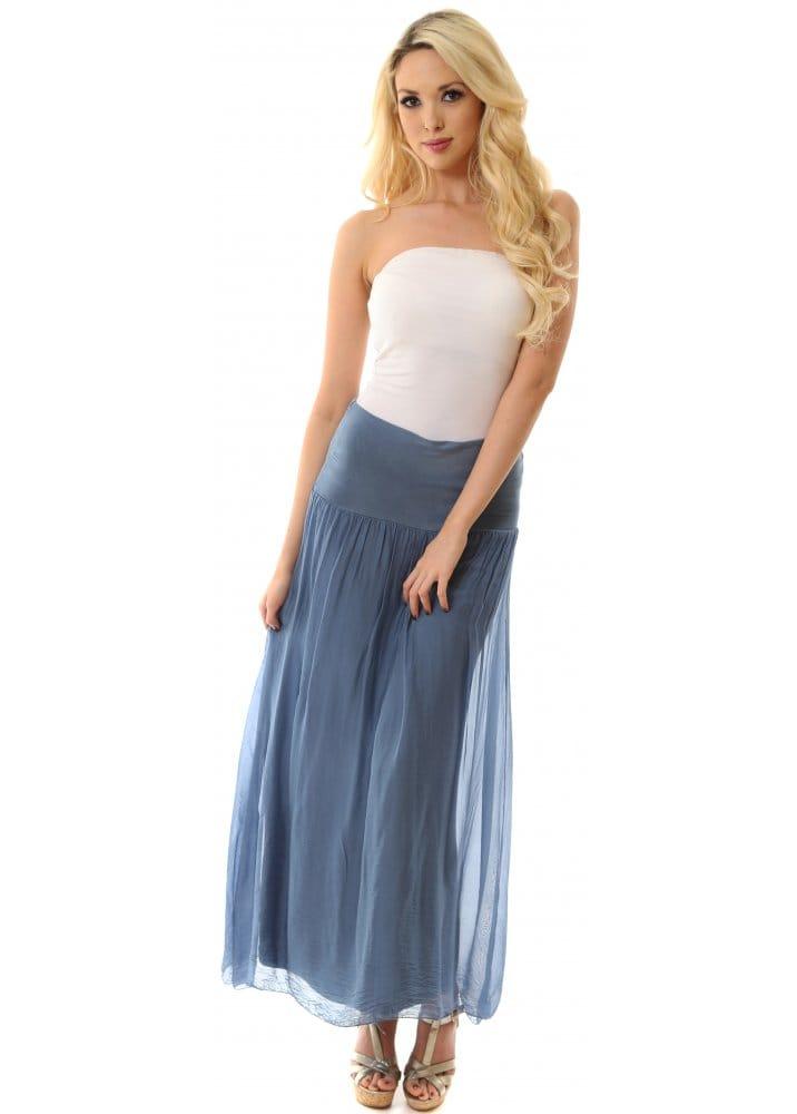 14 50 Outlet >> Sugar Babe Skirt | Denim Blue Silk Maxi Skirt Perfect For ...