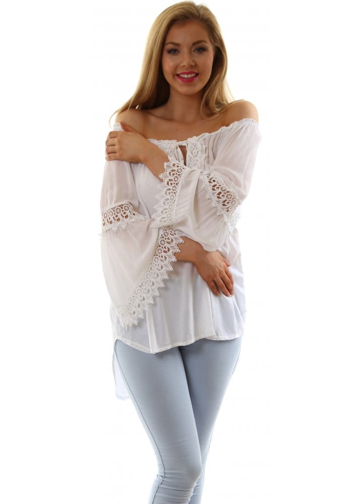 Zinka Top White Crochet Boho Style Wide Sleeved Summer Top