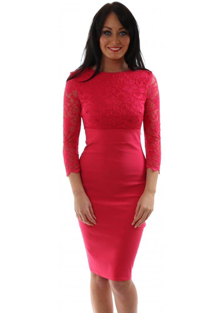 Goddess London Pencil Dress - Pink Lace Midi Dress For Day Or Night