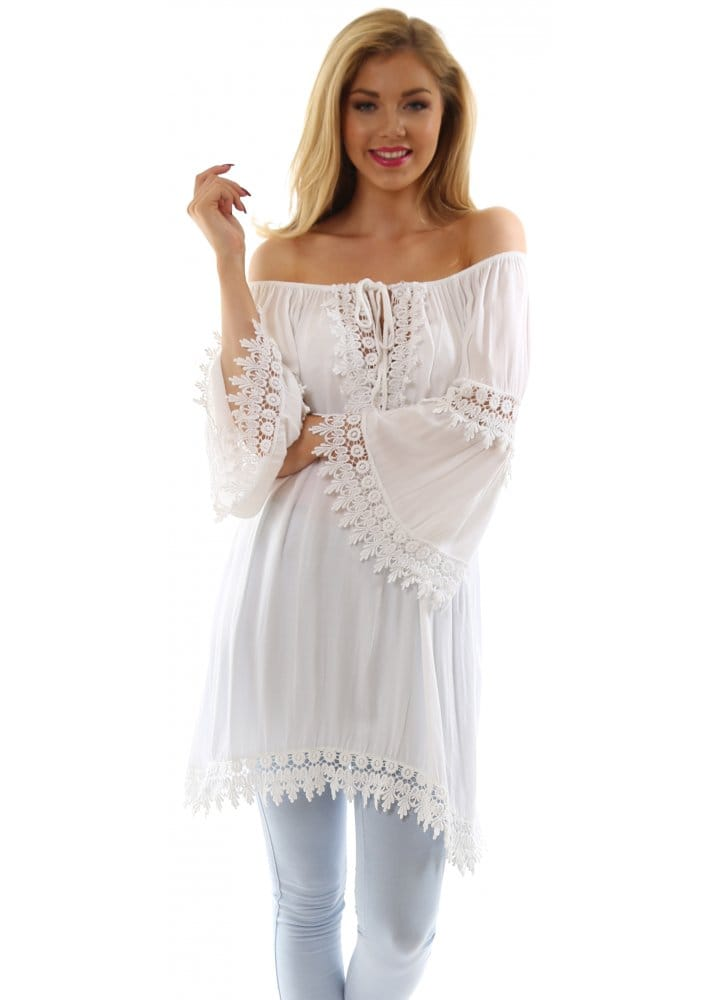 Monton Made In Italy Top White Boho Crochet Lace Panels Top